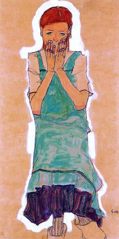 Egon Schiele Girl with Green Pinafore - Hand Painted Oil Painting