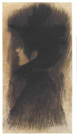 Gustav Klimt Girl with Hat and Cape in Profile - Hand Painted Oil Painting