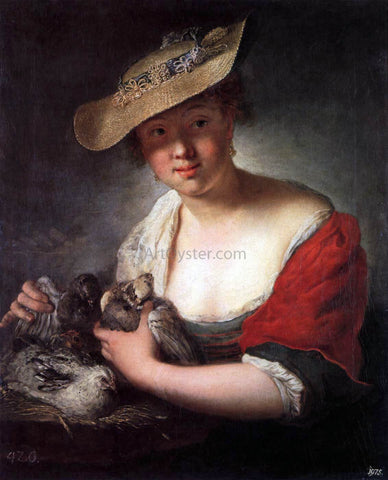 Antoine Pesne Girl with Pigeons - Hand Painted Oil Painting