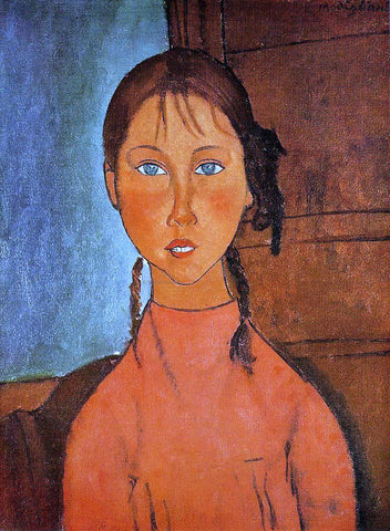 Amedeo Modigliani Girl with Pigtails - Hand Painted Oil Painting