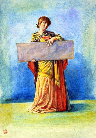 John La Farge Girl with Tablet - Hand Painted Oil Painting