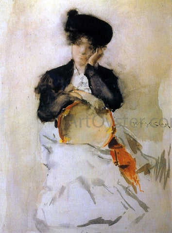 William Merritt Chase Girl with Tambourine - Hand Painted Oil Painting