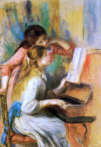Pierre Auguste Renoir Girls at the Piano - Hand Painted Oil Painting