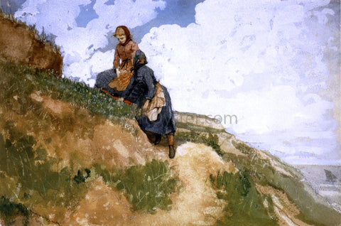 Winslow Homer Girls on a Cliff - Hand Painted Oil Painting