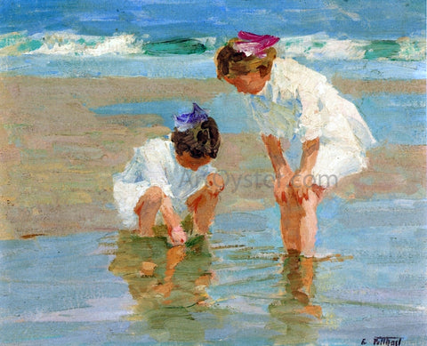 Edward Potthast Girls Playing in Surf - Hand Painted Oil Painting