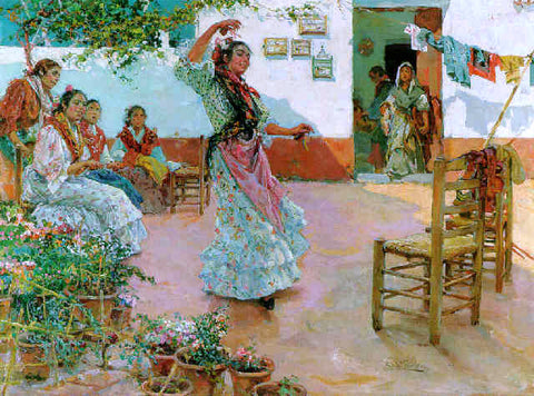 Manuel Ruiz Guerrero Gitanas en el Patio - Hand Painted Oil Painting