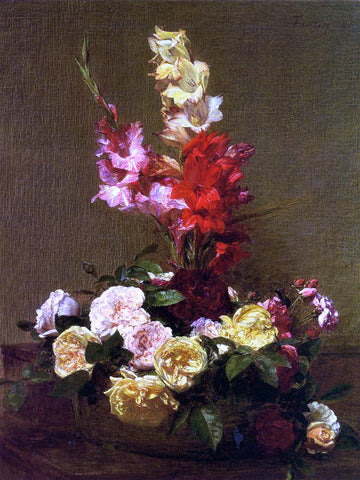 Henri Fantin-Latour Gladiolas and Roses - Hand Painted Oil Painting
