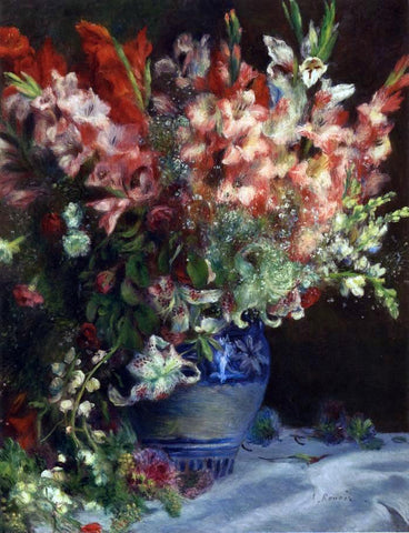 Pierre Auguste Renoir Gladiolas in a Vase - Hand Painted Oil Painting