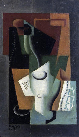 Juan Gris Glass and Bottle - Hand Painted Oil Painting