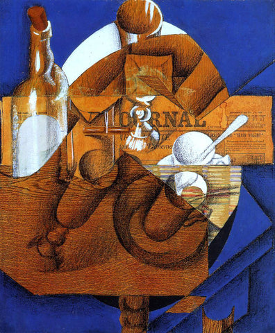 Juan Gris Glass, Cup and Bottle - Hand Painted Oil Painting