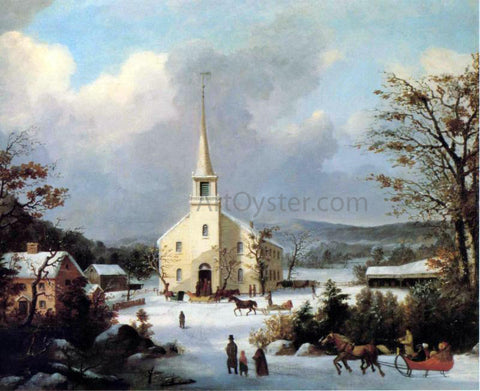 George Henry Durrie Going to Church - Hand Painted Oil Painting