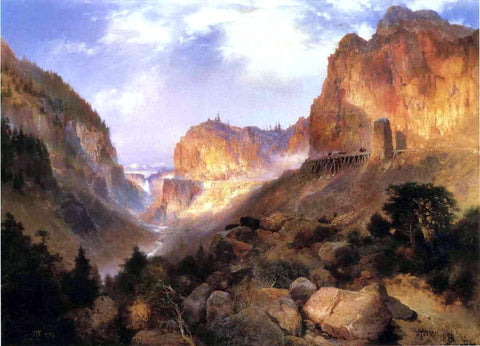 Thomas Moran Golden Gateway to the Yellowstone - Hand Painted Oil Painting