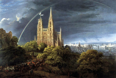 Karl Friedrich Schinkel Gothic Cathedral with Imperial Palace - Hand Painted Oil Painting