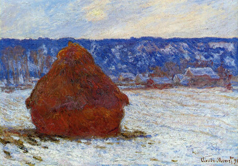 Claude Oscar Monet Grainstack in Overcast Weather, Snow Effect - Hand Painted Oil Painting