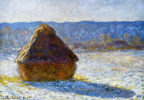 Claude Oscar Monet Grainstack in the Morning, Snow Effect - Hand Painted Oil Painting