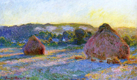 Claude Oscar Monet Grainstacks at the End of Summer, Evening Effect - Hand Painted Oil Painting