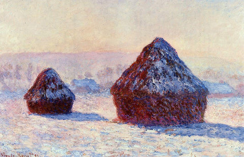 Claude Oscar Monet Grainstacks in the Morning, Snow Effect - Hand Painted Oil Painting