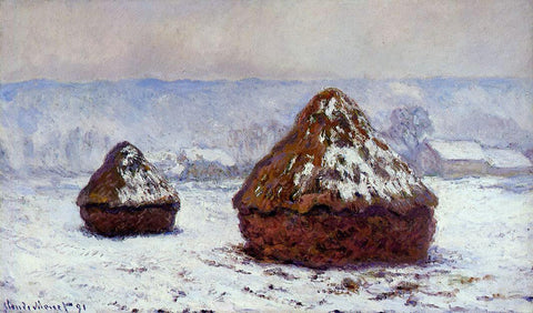 Claude Oscar Monet Grainstacks, Snow Effect - Hand Painted Oil Painting