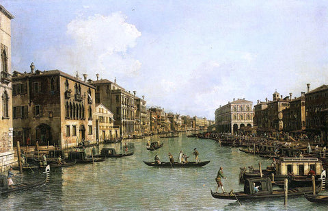 Canaletto At the Grand Canal from the Campo Santa Sofia Towards the Rialto Bridge - Hand Painted Oil Painting