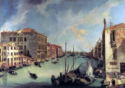 Canaletto Grand Canal: Looking East from the Campo S. Vio - Hand Painted Oil Painting