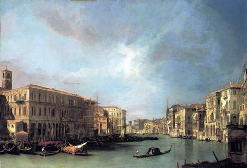 Canaletto Grand Canal: Looking North from near the Rialto Bridge - Hand Painted Oil Painting