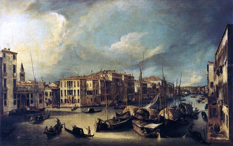 Canaletto At the Grand Canal: Looking Northeast from near the Palazzo Corner Spinelli to the Rialto Bridge - Hand Painted Oil Painting