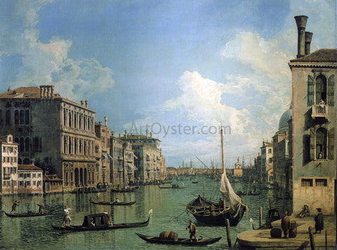 Canaletto At the Grand Canal Near the Campo San Vio, Looking Towards the Church of Santa Maria della Salute - Hand Painted Oil Painting