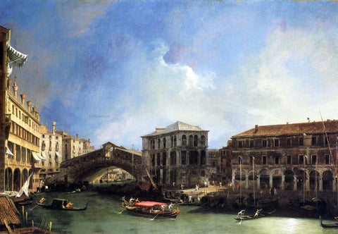 Canaletto Grand Canel: the Rialto Bridge from the North - Hand Painted Oil Painting
