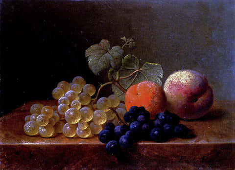 Emilie Preijer Grapes, An Orange And An Apple On A Marble Ledge - Hand Painted Oil Painting