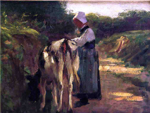 Edward Potthast Grazing by the Roadside - Hand Painted Oil Painting