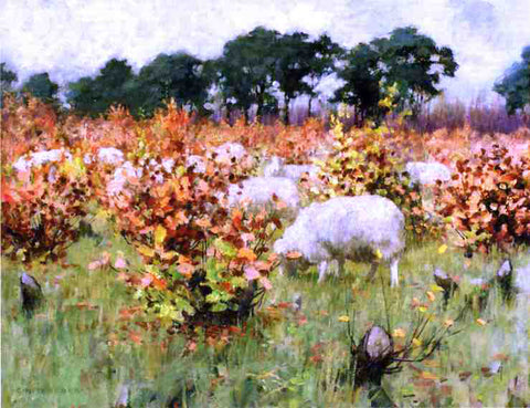 George Hitchcock Grazing Sheep - Hand Painted Oil Painting