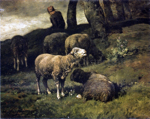 Charles Emile Jacque Grazing Sheep with a Sheperdhess Beyond - Hand Painted Oil Painting