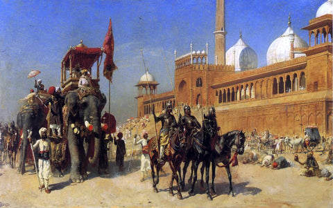 Edwin Lord Weeks Great Mogul and his Court Returning from the Great Mosque at Delhi, India - Hand Painted Oil Painting