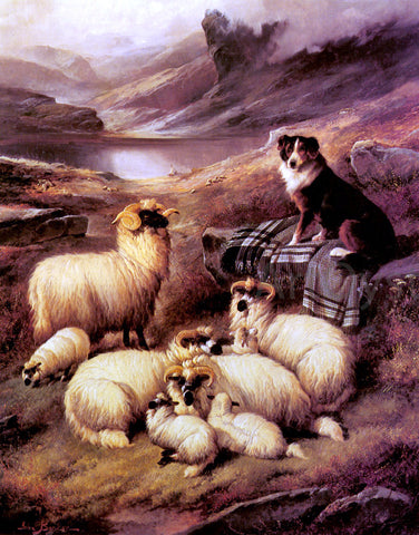 John Barker Guarding his Flock - Hand Painted Oil Painting