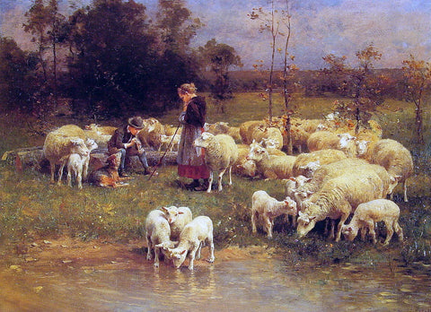 Luigi Chialiva Guarding the Flock - Hand Painted Oil Painting
