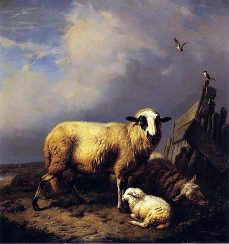 Carl Wagner Guarding the Lamb - Hand Painted Oil Painting