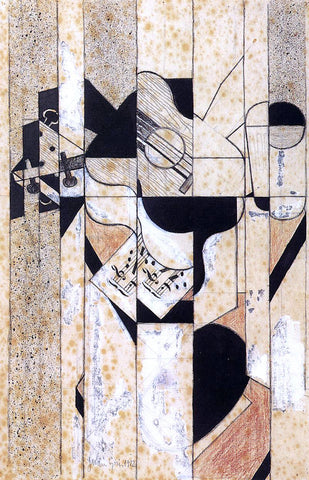 Juan Gris Guitar and Glass - Hand Painted Oil Painting