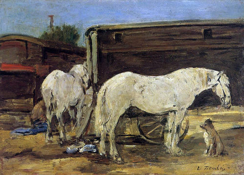 Eugene-Louis Boudin Gypsy Horses - Hand Painted Oil Painting