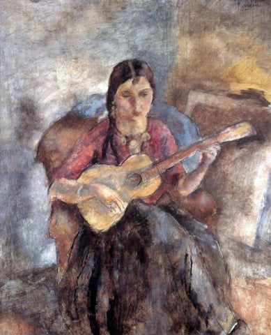 Jules Pascin Gypsy with a Guitar - Hand Painted Oil Painting