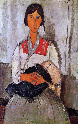 Amedeo Modigliani Gypsy Woman with Baby - Hand Painted Oil Painting