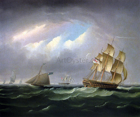 James E Buttersworth H. M. S. Brunswick - Hand Painted Oil Painting