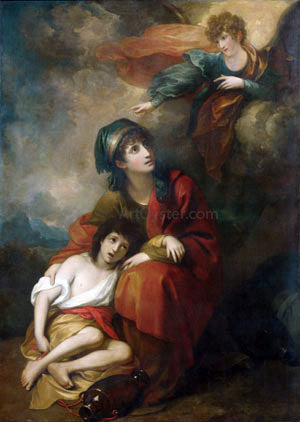 Benjamin West Hagar and Ishmael - Hand Painted Oil Painting
