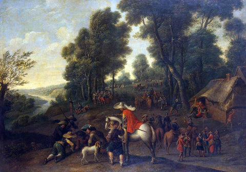 Pieter Snayers Halt of Horsemen in a Forest - Hand Painted Oil Painting