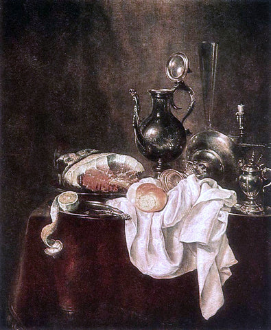 Willem Claesz Heda Ham and Silverware - Hand Painted Oil Painting