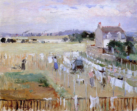 Berthe Morisot Hanging the Laundry out to Dry - Hand Painted Oil Painting