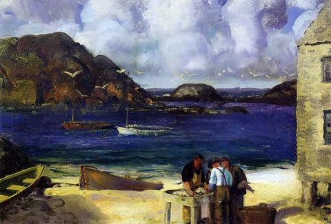 George Wesley Bellows Harbor at Monhegan (also known as Fishing Harbor, Monhegan Island) - Hand Painted Oil Painting