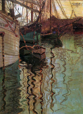 Egon Schiele Harbor of Trieste - Hand Painted Oil Painting