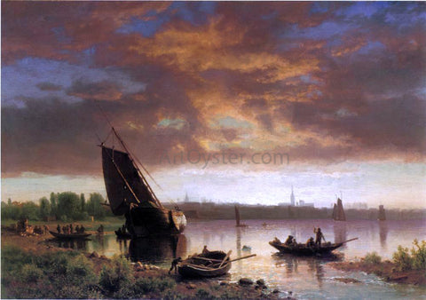 Albert Bierstadt Harbor Scene (also known as Potential) - Hand Painted Oil Painting