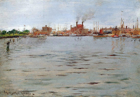 William Merritt Chase A Harbor Scene, Brooklyn Docks - Hand Painted Oil Painting