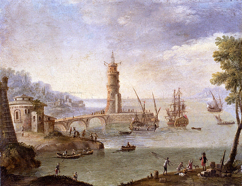 Orazio Grevenbroeck Harbour Scene With Ships By A Fortification - Hand Painted Oil Painting